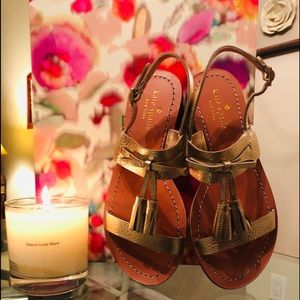 Kate Spade Carlitta gold metallic tassel sandal